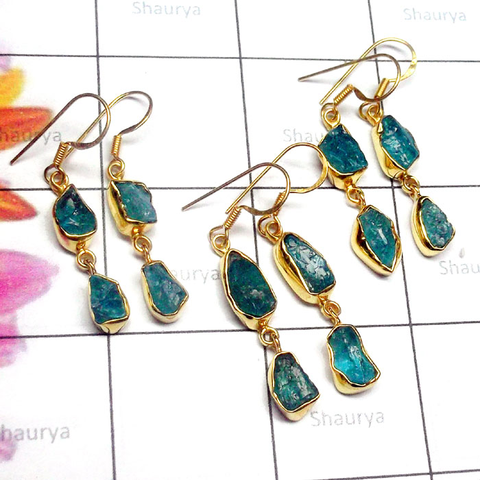 3 pair lot Apatite O - RGE985-Apatite 3 Pair lot 925 Sterling Silver Gold Plated Earrin