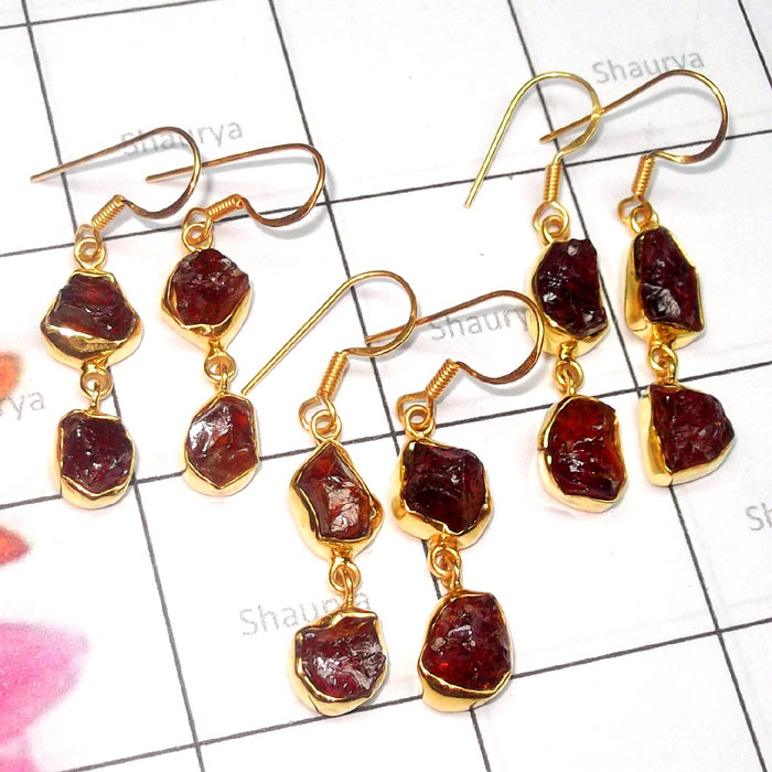 Garnet Cut O - RGE984-925 Silver Gold Plated 3 Pair Garnet Rough Earring