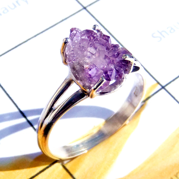 7x9mm Amethyst Rough F - RBS995-925 Silver Lightweight Baby Ring Collection