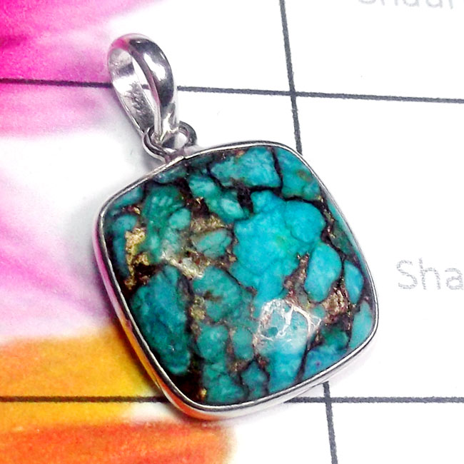 Blue copper Turquoise C - BPS987-Superior 925 Silver Multi Checker Cut Gemstone Bejal Pend