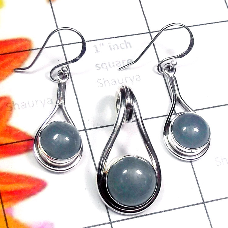 Aquamarine A - NDS973-Labradorite, Aquamarine with 925 Exclusive Silver Earring