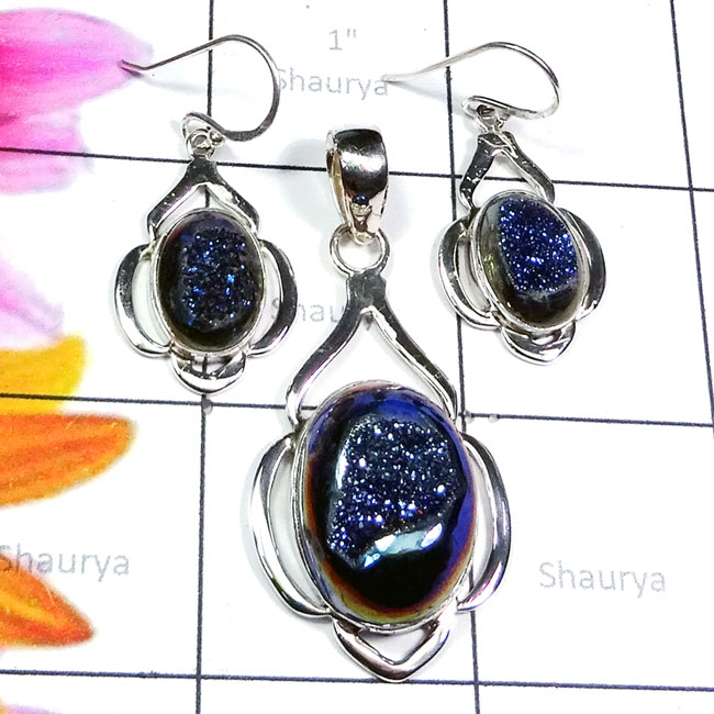 Window Druzy B - NDS961-Purple Turquoise, Lapis Cut, Druzy, Superior 925 Silver E