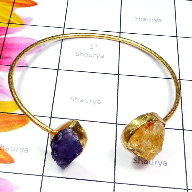 Citrine n Amethyst Rough A - RGP983-Multi Rough Gemstone Made in 925 Silver Gold Plated Matt