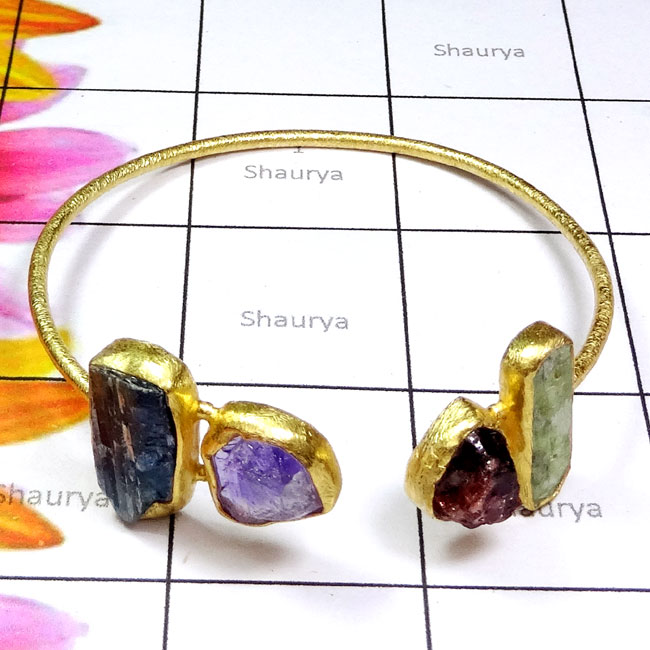 Amethyst, Kynite, Garnet Rough B - RGP983-Multi Rough Gemstone Made in 925 Silver Gold Plated Matt