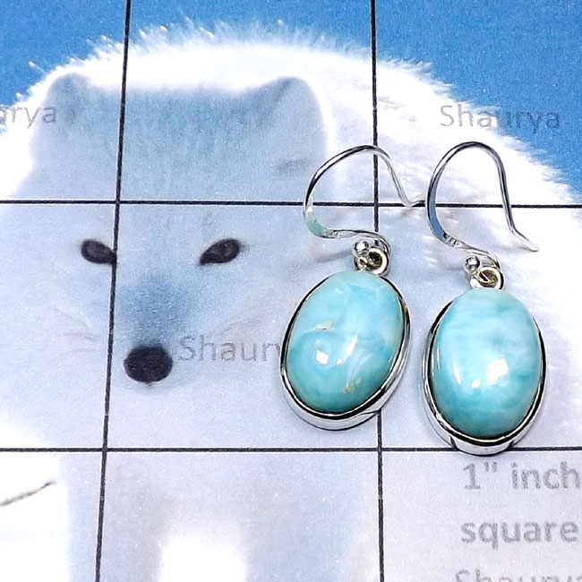 Larimar O - LDS988-Larimar Cab with 925 Sterling Silver Wholesale Plain Earr