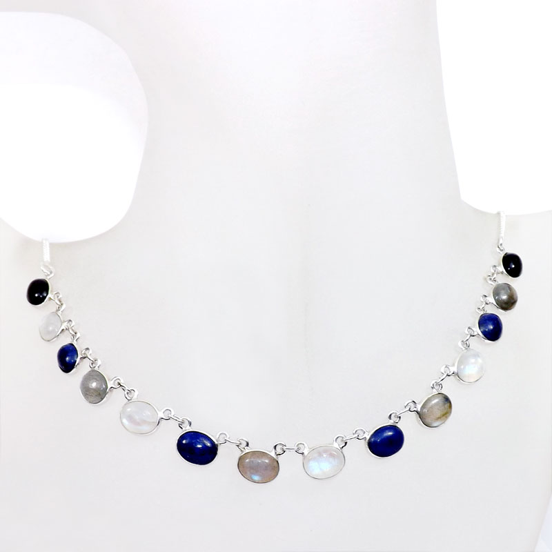 18 inch Multi Cab Gemstone A - SCN983-18 inch Beautiful Bezel Chain Necklace 925 Silver with Se