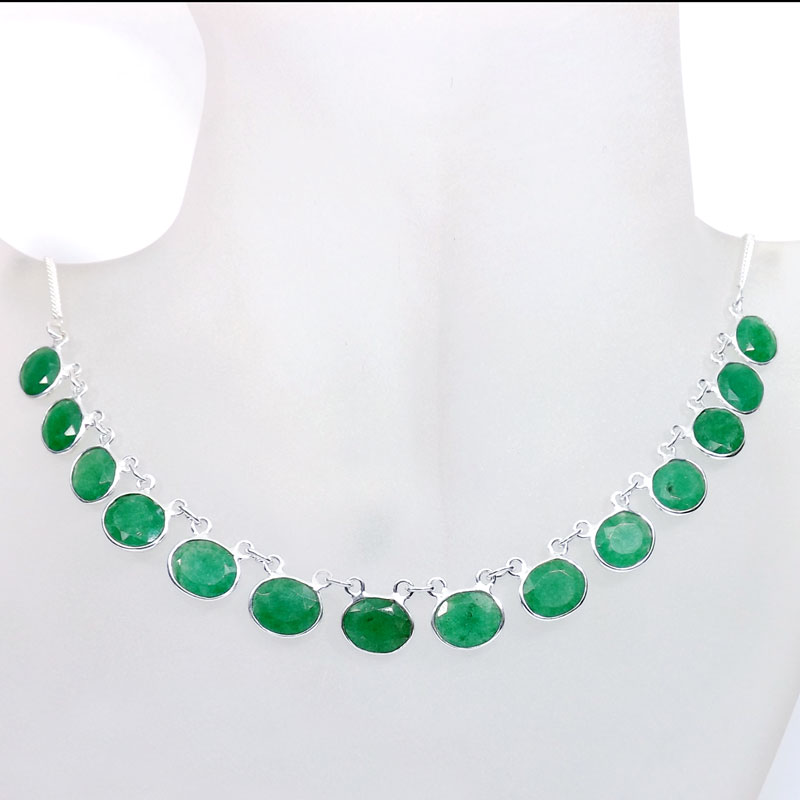 18 inch Green Amerld Corundum C - SCN983-18 inch Beautiful Bezel Chain Necklace 925 Silver with Se