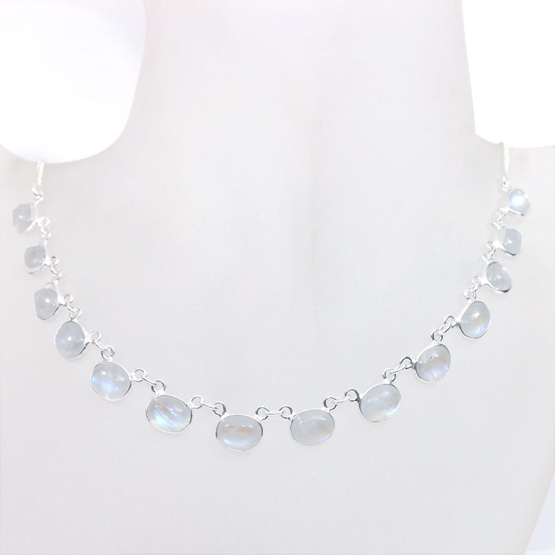 18 inch Rainbow Moonstone E - SCN983-18 inch Beautiful Bezel Chain Necklace 925 Silver with Se