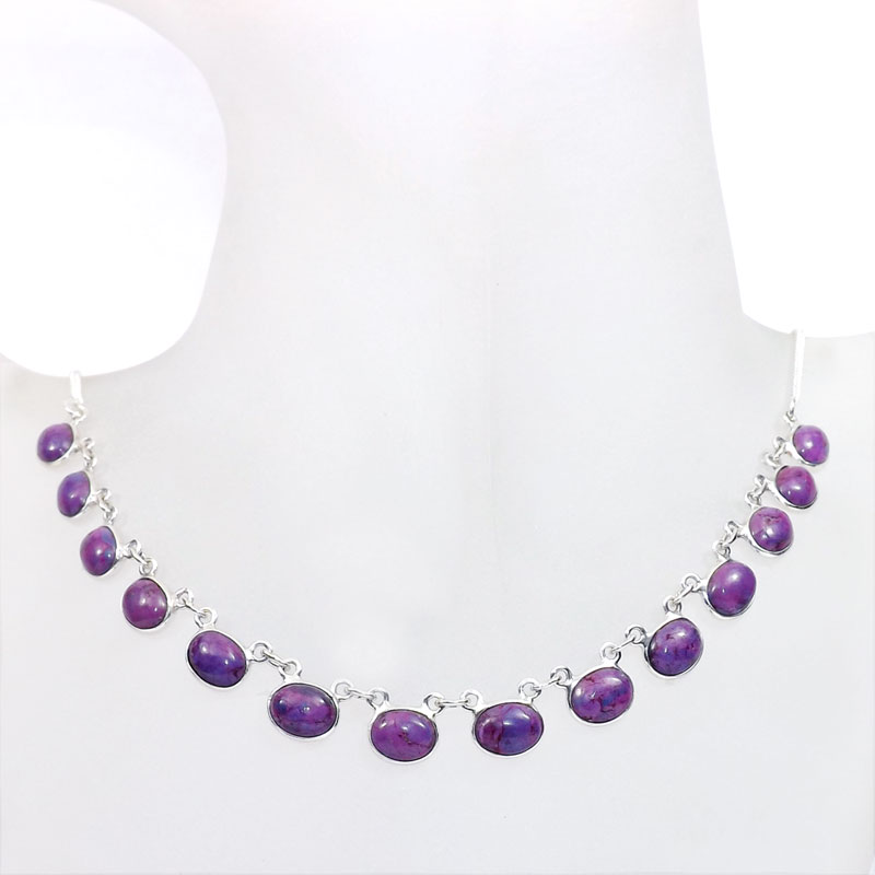 18 inch Purple Turquoise F - SCN983-18 inch Beautiful Bezel Chain Necklace 925 Silver with Se