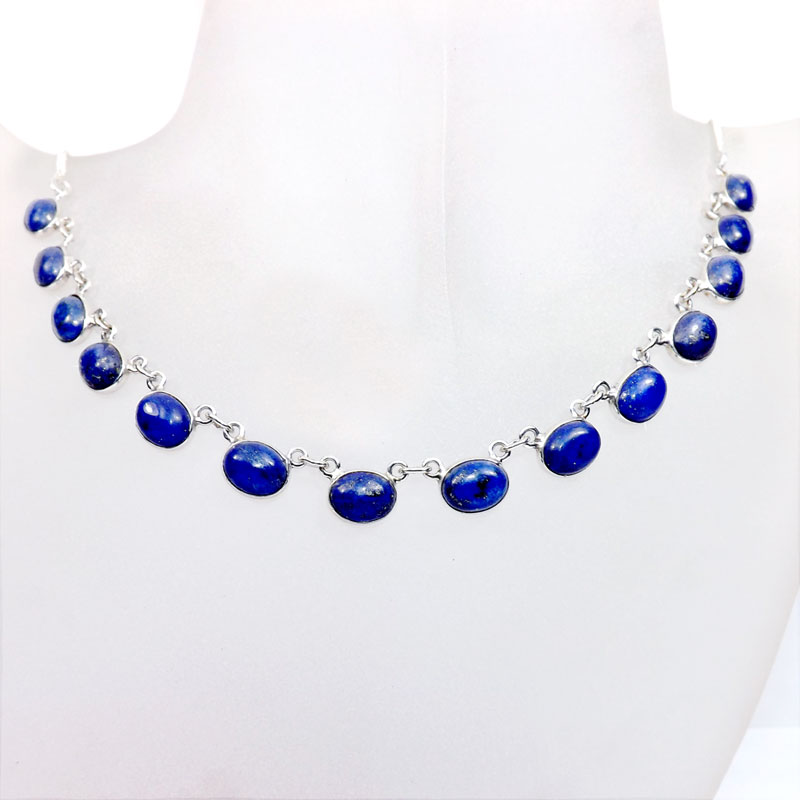 18 inch Lapis H - SCN983-18 inch Beautiful Bezel Chain Necklace 925 Silver with Se