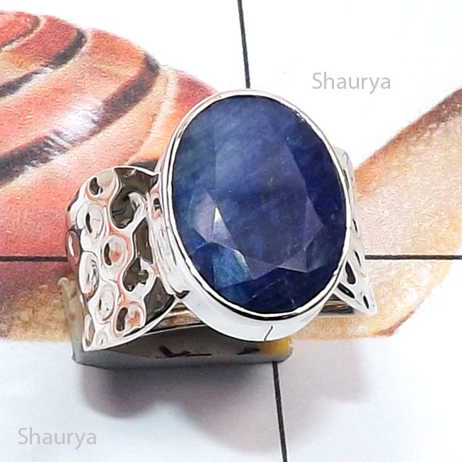 Blue Sapphire Corundum O - RSS995-Sterling 925 Silver Semiprecious Gemstone Handmade Fancy