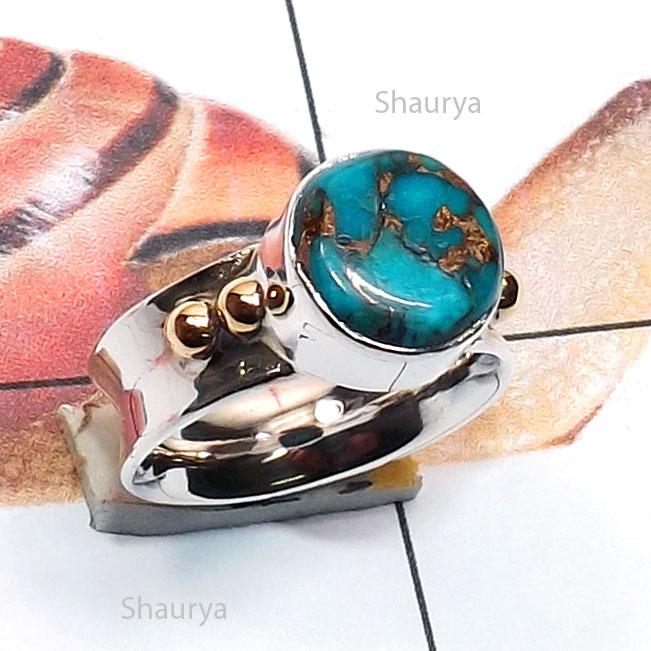 Blue Copper Turquoise C - STR966-Genuine Cut n Cab Gemstone Two Tone 925 Silver n Brass Ha