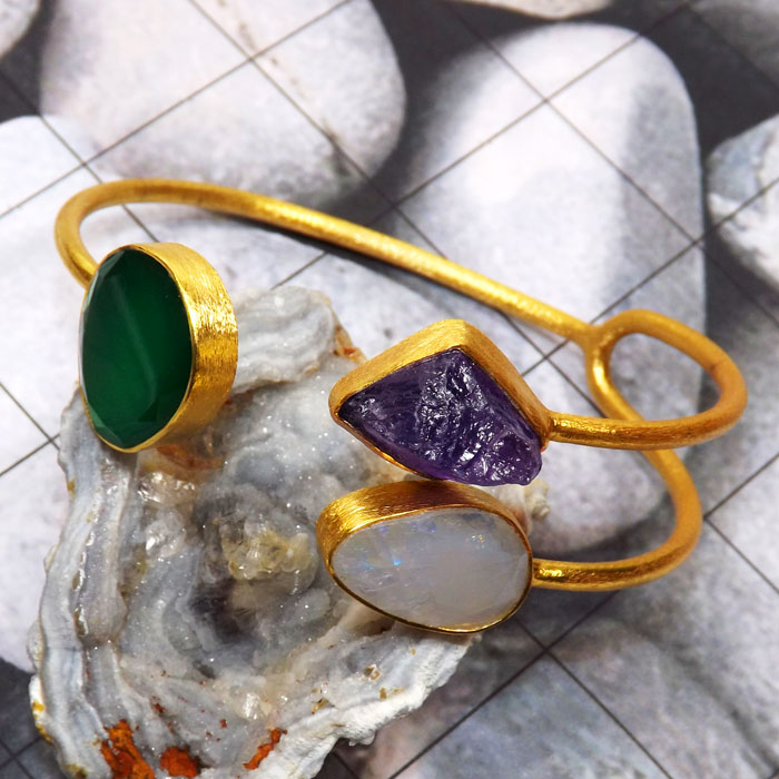 Green Onyx n Amethyst Rough A - RGP981-Genuine Rough Gemstone Made in 925 Silver Gold Plated Mat