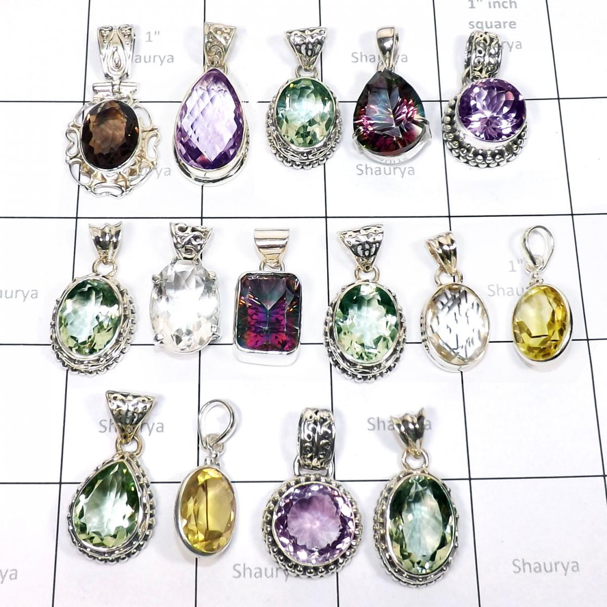 15 Pcs Mix cut stone combo lot-D - WSL997- Sterling silver Wholesale combo lots with Pendants, Earr