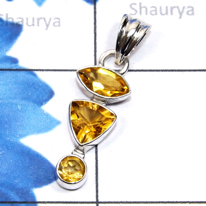 Citrine H - SSP960-Semiprecious Cut Three Gemstone Made in 925 Silver Lightw