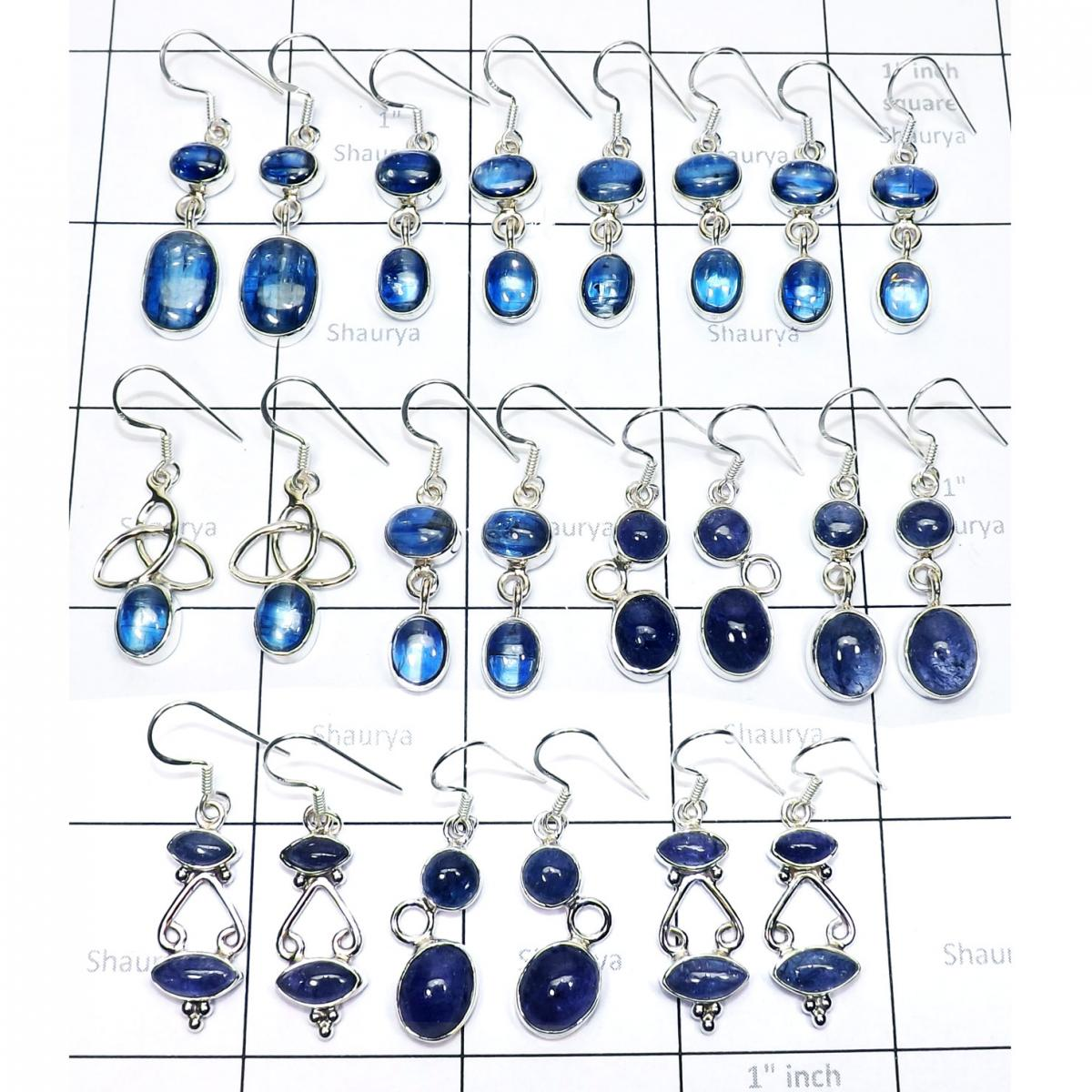 11 Pairs Kyanite & Tanzanite cab O - WSL993- Assorted Earrings wholesale lots with 925 sterling silve