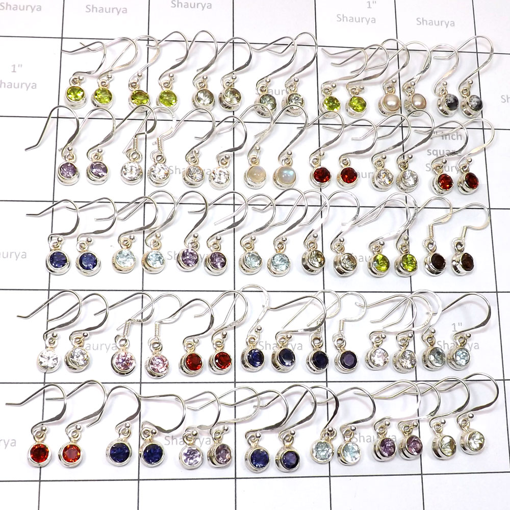 35 Pair Multi Cut Earring O - WSL992-Genuine Gemstone with 925 Sterling Earring, Pendant, Ring