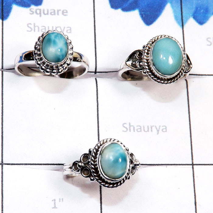 3 Pcs Larimar O - RBS973-Sterling 925 Silver Direct Factory 3 Pcs Genuine Larimar
