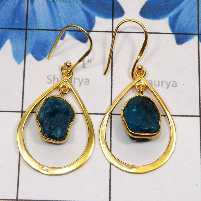 Apatite Rough G - SGE953-925 Sterling Silver Gold Plated Vermeil Earring with Semi