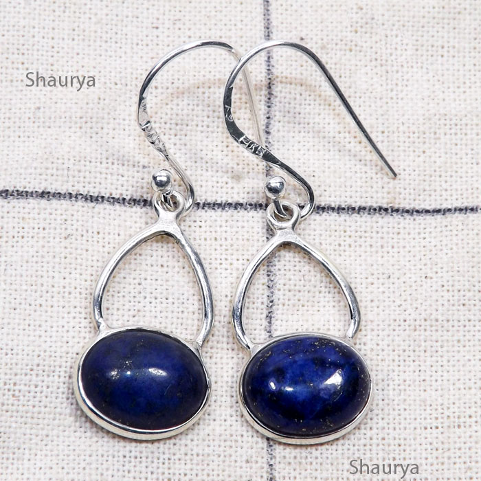 Lapis C - BZE860-Genuine Cab Gemstone with 925 Silver Trendy Bezel Earring