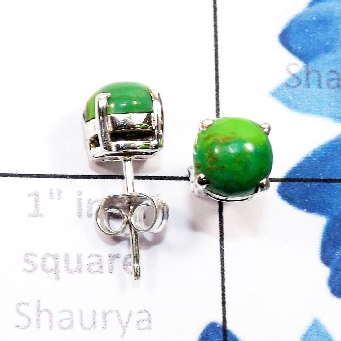 Green Turquoise F - SSE958-6mm Round Genuine Cab Gemstone 925 Sterling Silver Wholes