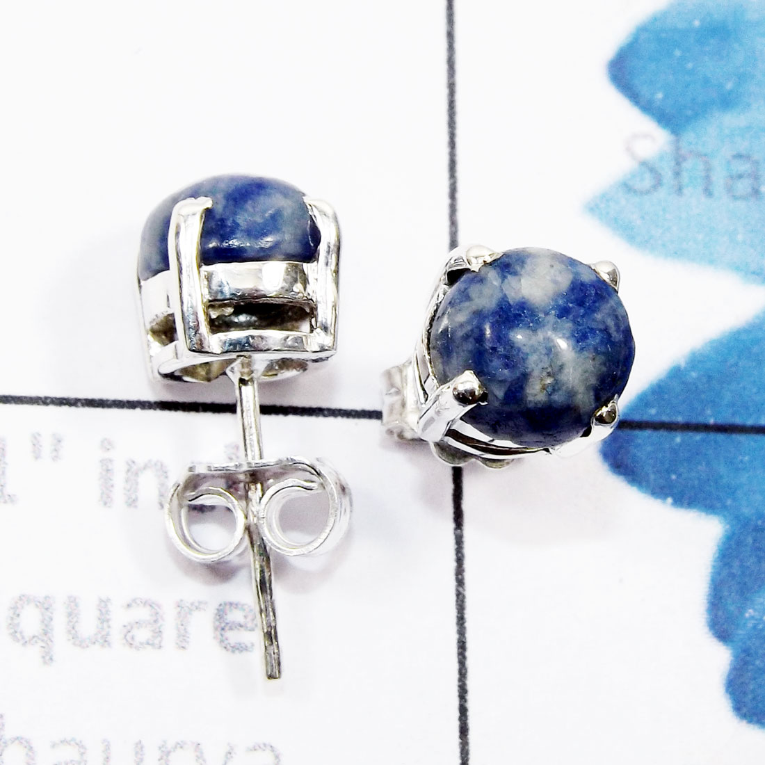Sodalite H - SSE958-6mm Round Genuine Cab Gemstone 925 Sterling Silver Wholes