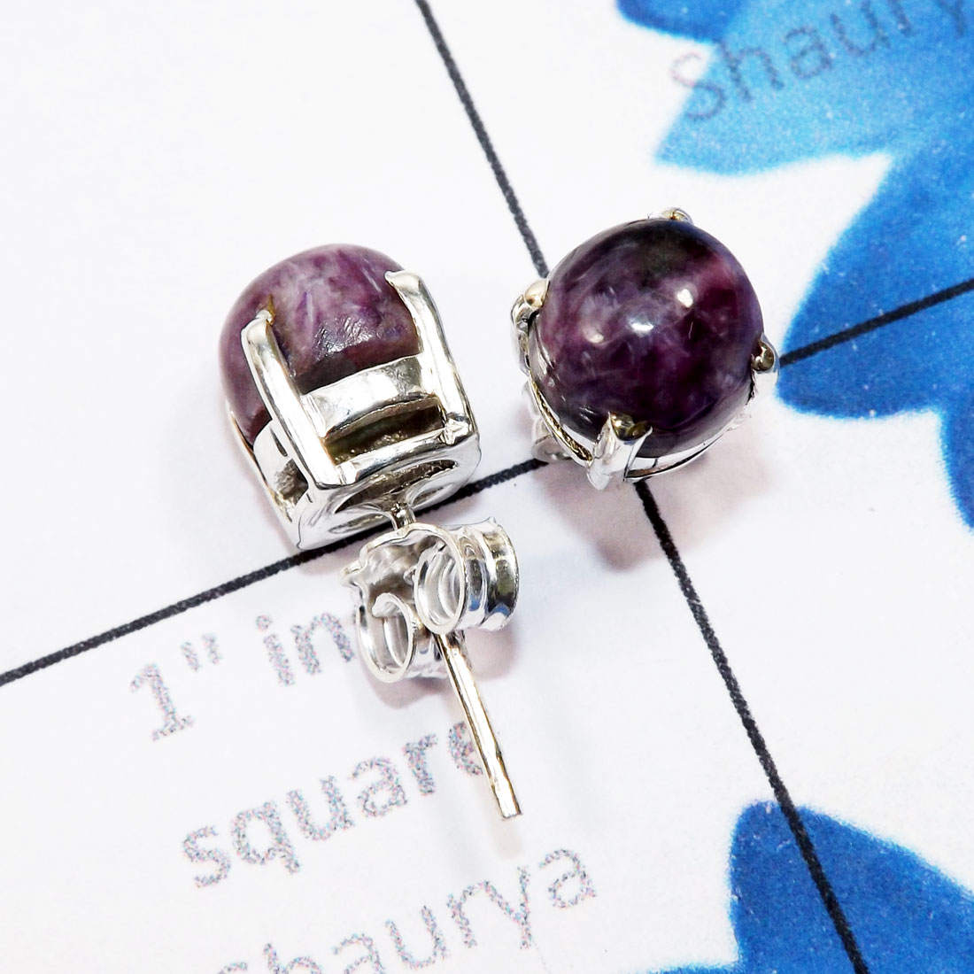 Charoite L - SSE958-6mm Round Genuine Cab Gemstone 925 Sterling Silver Wholes