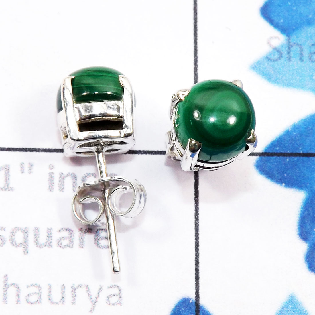 Malachite O - SSE958-6mm Round Genuine Cab Gemstone 925 Sterling Silver Wholes