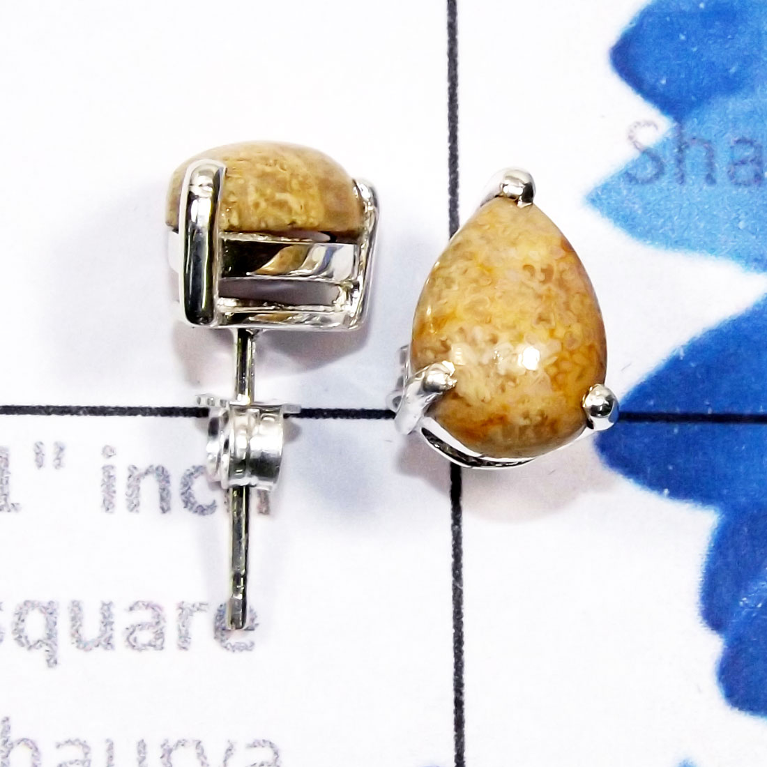 Fossil Coral G - SSE957-7x10mm Pear Drop Cab Multi Gemstone 925 Silver Lightweigh