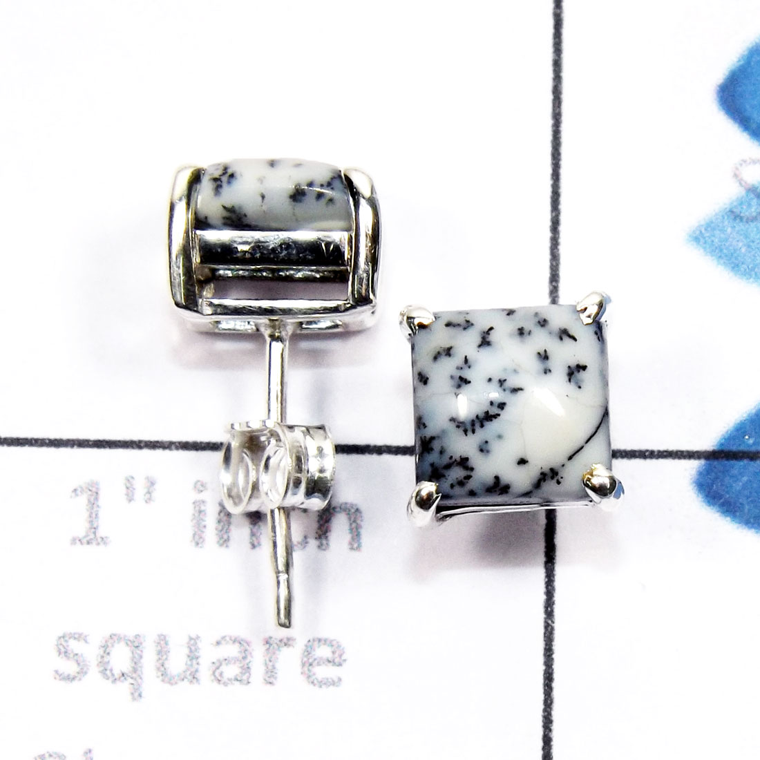Dendritic Agate F - SSE952-7mm Square 925 Sterling Silver Handmade Wholesale Stud Ea