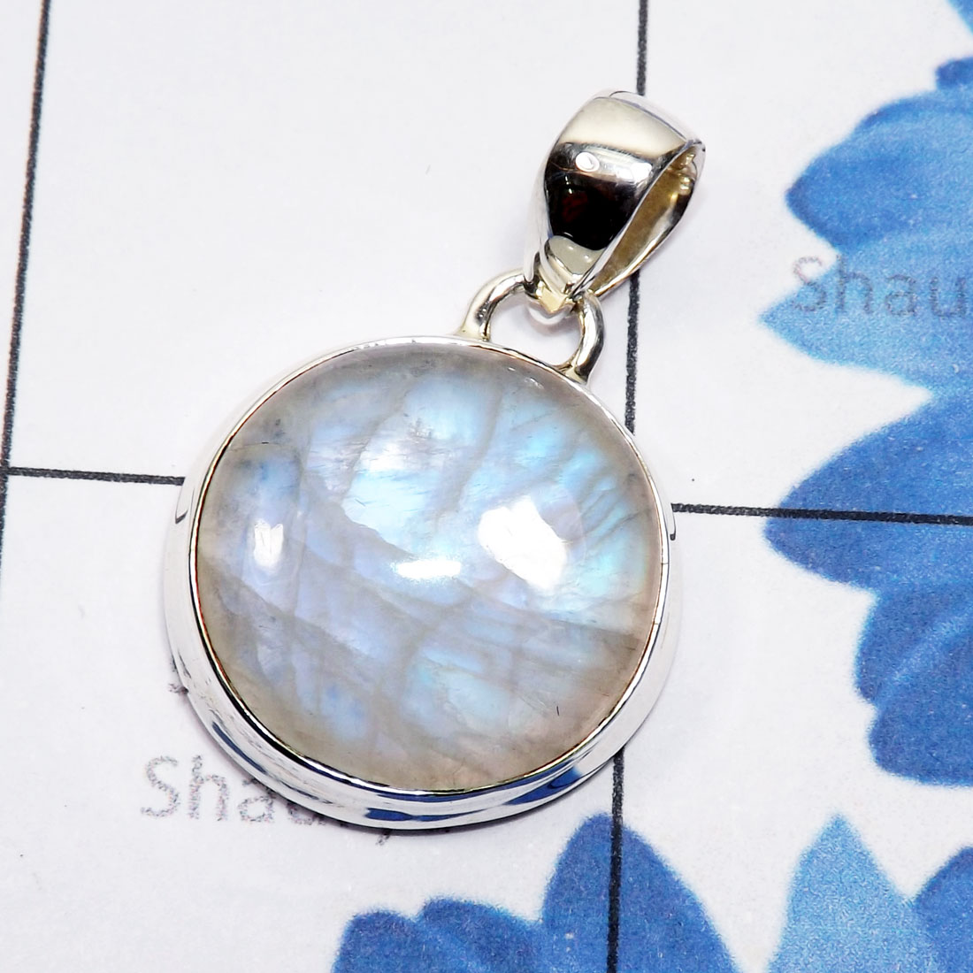 Rainbow Moonstone Cab D - ISP828-Natural Fire Cabochon Rainbow Moonstone 925 Sterling Silv