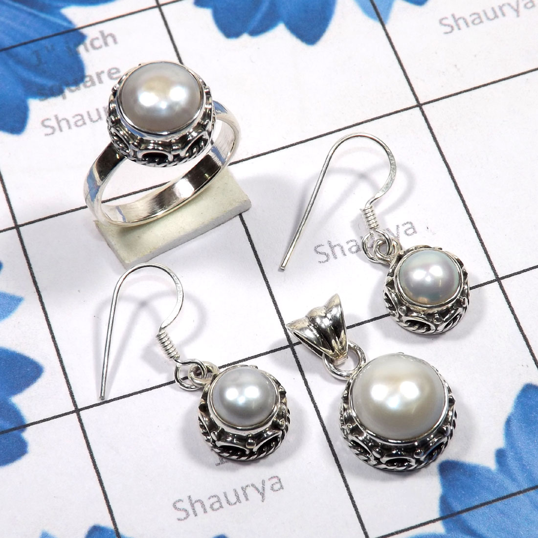 3 Pcs Pearl Set B - PPS999-Natural Pearl Earring, Pendant, Ring 925 Sterling Silver