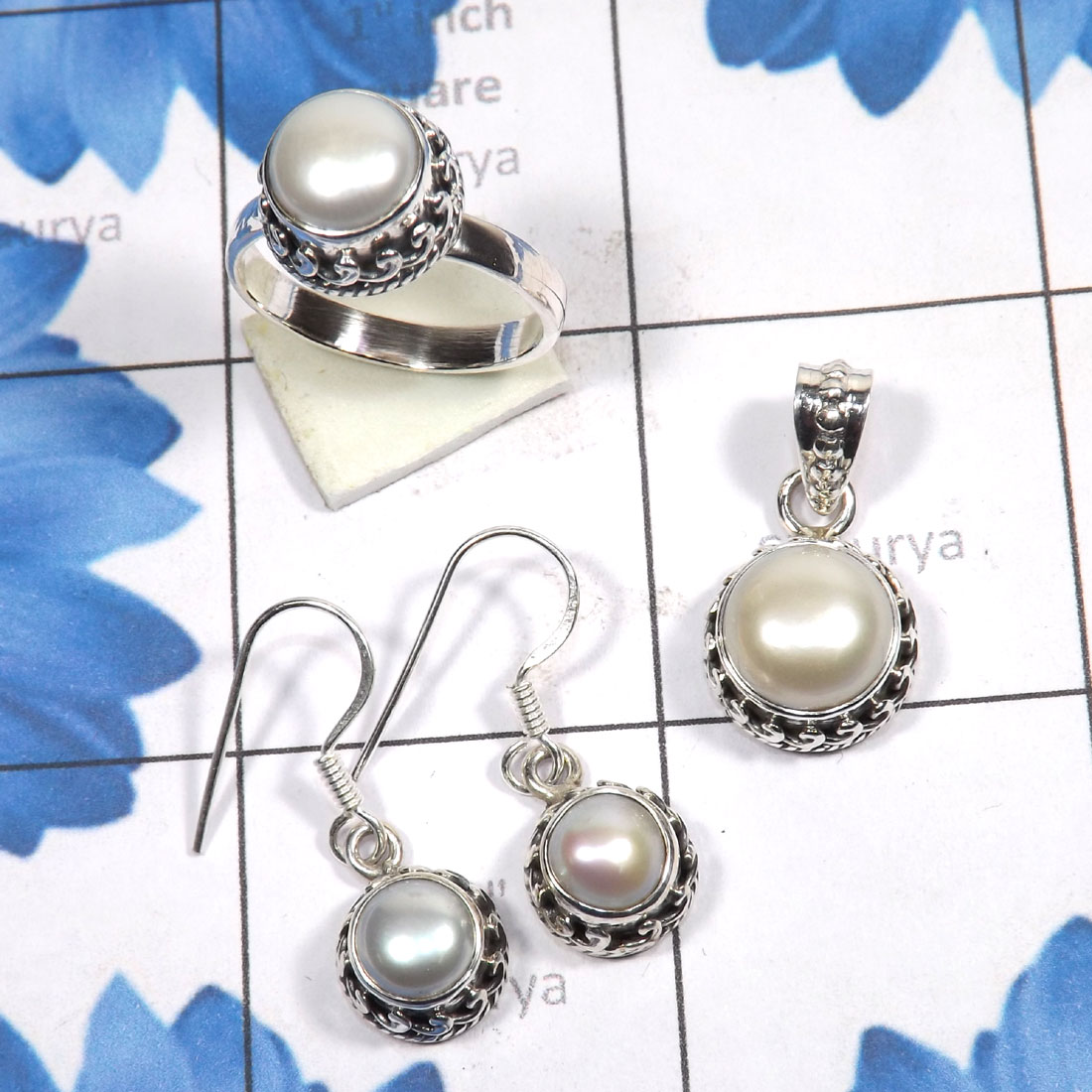 3 Pcs Pearl Set A - PPS995-Genuine Pearl 3 Pcs Earring, Pendant, Ring Set 925 Sterli