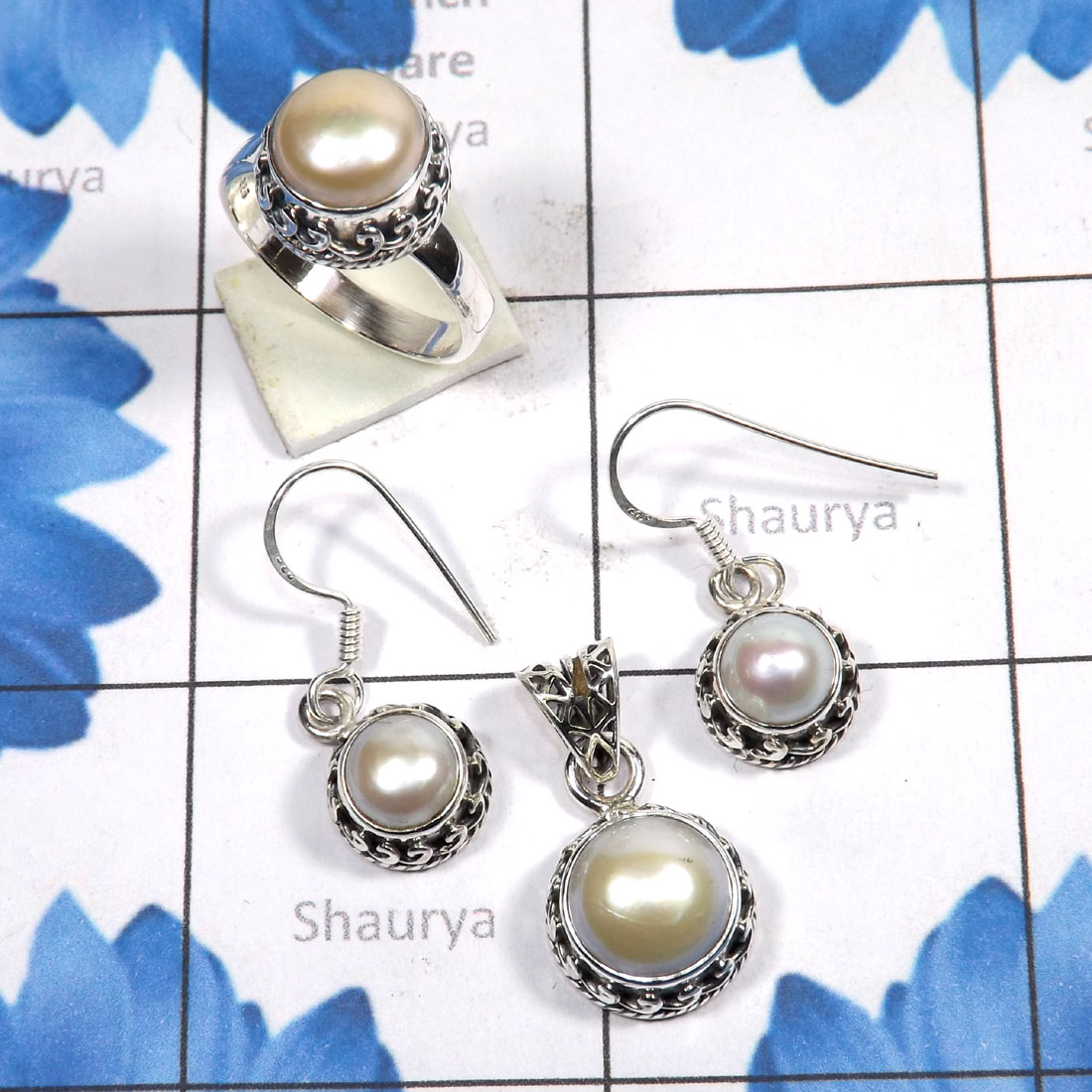 3 Pcs Pearl Set B - PPS995-Genuine Pearl 3 Pcs Earring, Pendant, Ring Set 925 Sterli