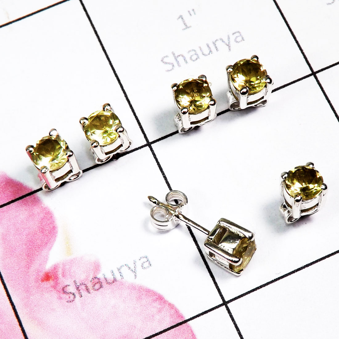 Green Amethyst Cut 3 Pair Stud Earrings B - SSE938 - Exclusive 3 Pair Multi Cut Gem Stone 925 Sterling Silve