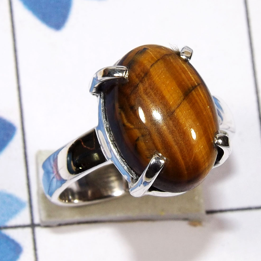 Tiger Eye C - SPR956 - Beautiful Prong Setting Ring Indian Factory Made With 9