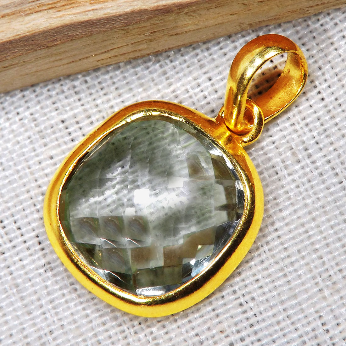 Green Amethyst D - BGP999-14TO15mm Cushion Looking Amazing Pendants of 18 Crt Gold