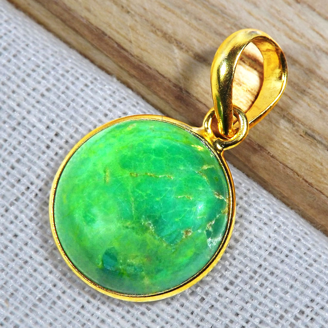 Green Turquoise G - BGP996-15MM Round Bezal 18 Crt Gold Plated 925 Sterling Silver P