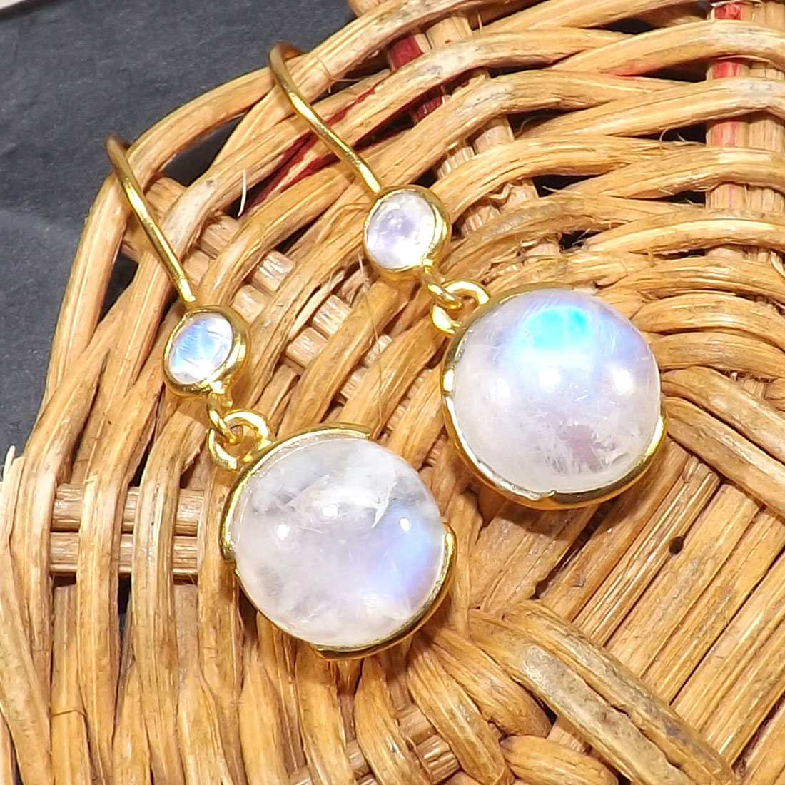 Rainbow Moonstone I - BGE991-10MM Cushion Wonderful Earrings Made In Indian Factory of