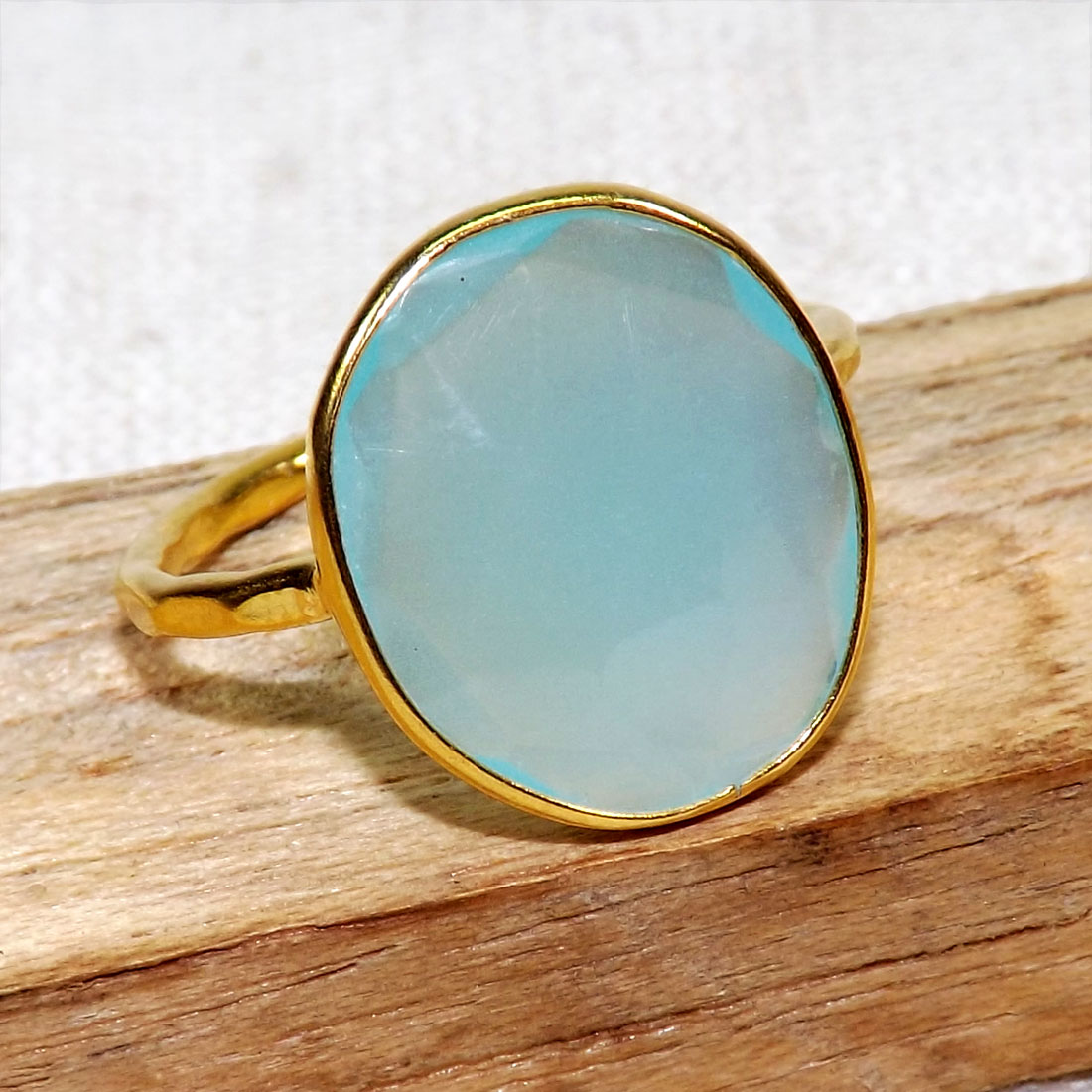 Aqua Chalcedony A - BGR970-18crt Gold Plated 925 Sterling Silver Rings With Natural
