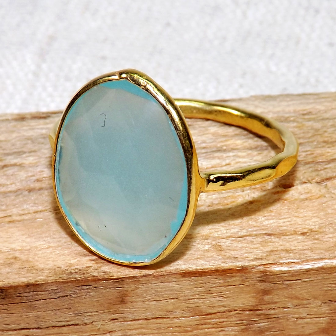 Aqua Chalcedony F - BGR970-18crt Gold Plated 925 Sterling Silver Rings With Natural