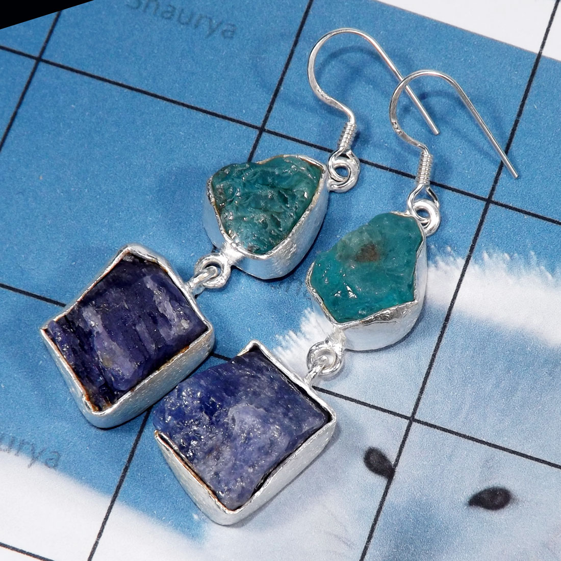 Tanzanite, Apatite Rough B - RGE978-Tanzanite & Apatite Rough Stone Matte Finish 925 Silver E