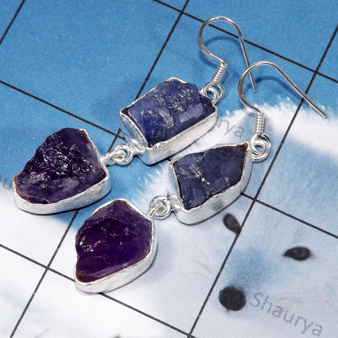 Amethyst, Tanzanite Rough E - RGE978-Tanzanite & Apatite Rough Stone Matte Finish 925 Silver E
