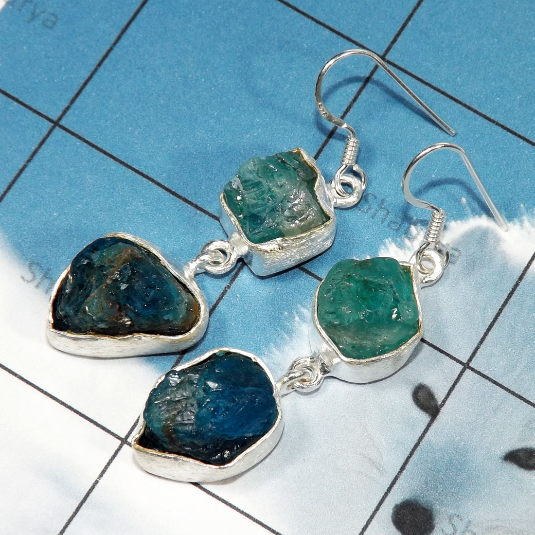 Apatite Rough F - RGE978-Tanzanite & Apatite Rough Stone Matte Finish 925 Silver E