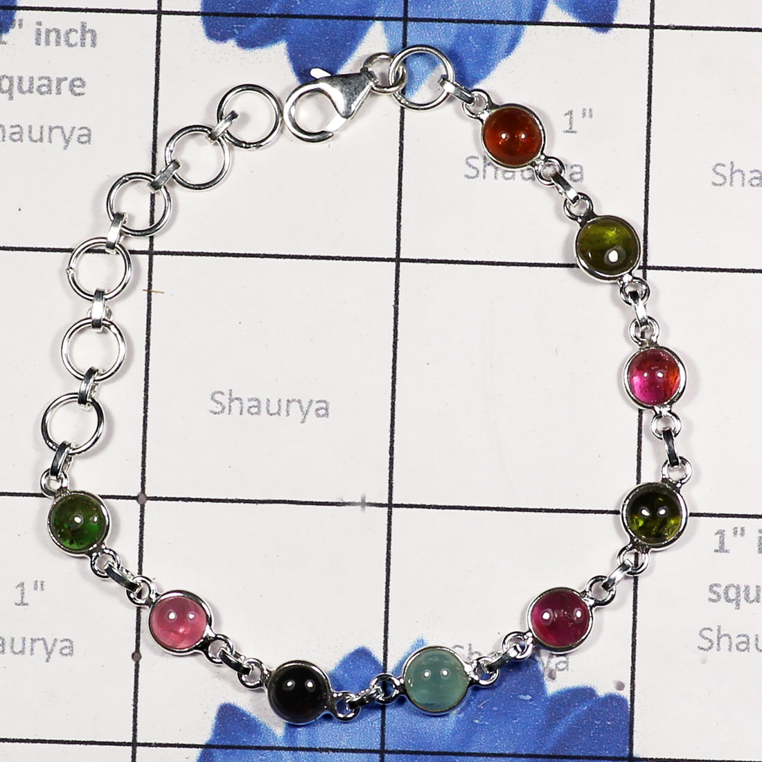 Multi Color Tourmaline G - SBB913-LIGHT WEIGHT BEZEL SET TOURMALINE GEMSTONE WOMEN BRACELET