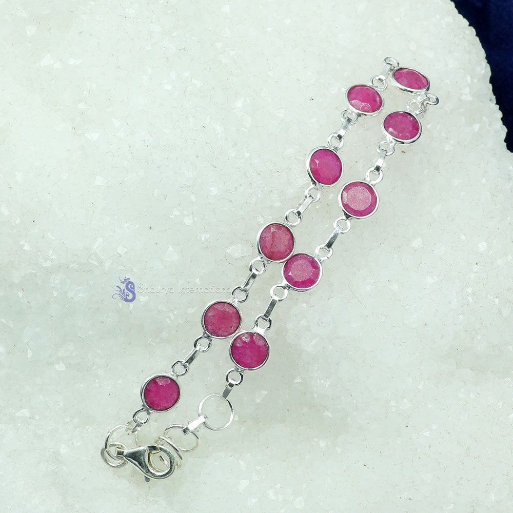 PINK RUBY CORUNDUM F - SBB912- NATURAL GEMSTONE BEAUTIFUL DESIGNER BEJAL BRACELET MADE