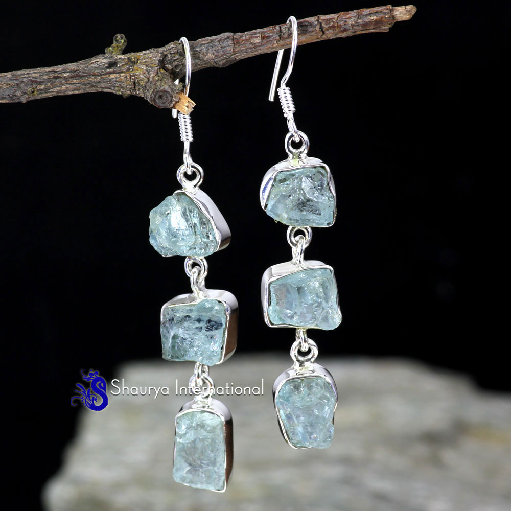 AQUAMARINE ROUGH C - SPE907- FABULOUS DESIGNER THREE STONE PRETTY EARRINGS MADE IN 92
