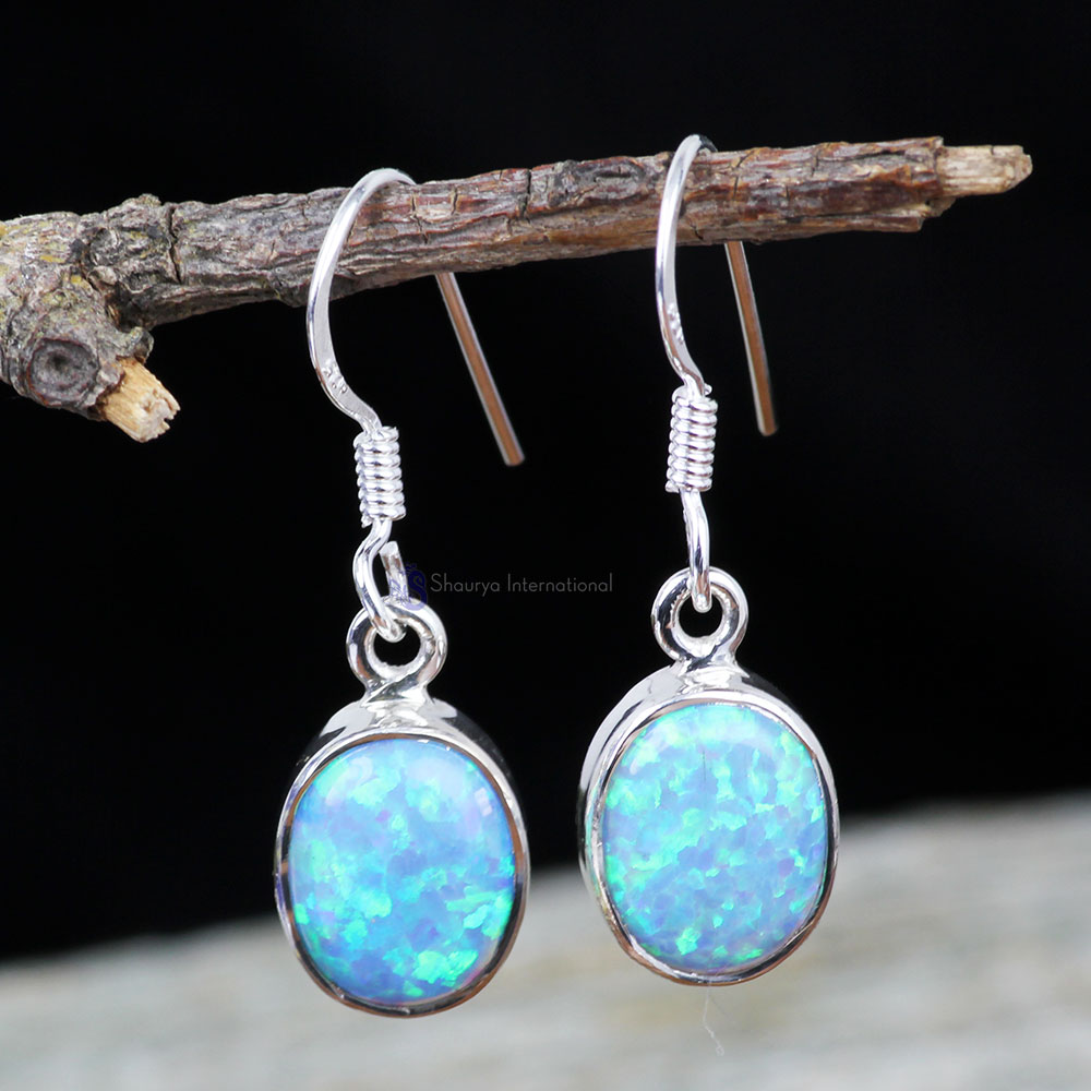 DOUBLET OPAL B - XSE959- 925 STERLING SILVER NATURAL GEMSTONE BEAUTIFUL EARRINGS