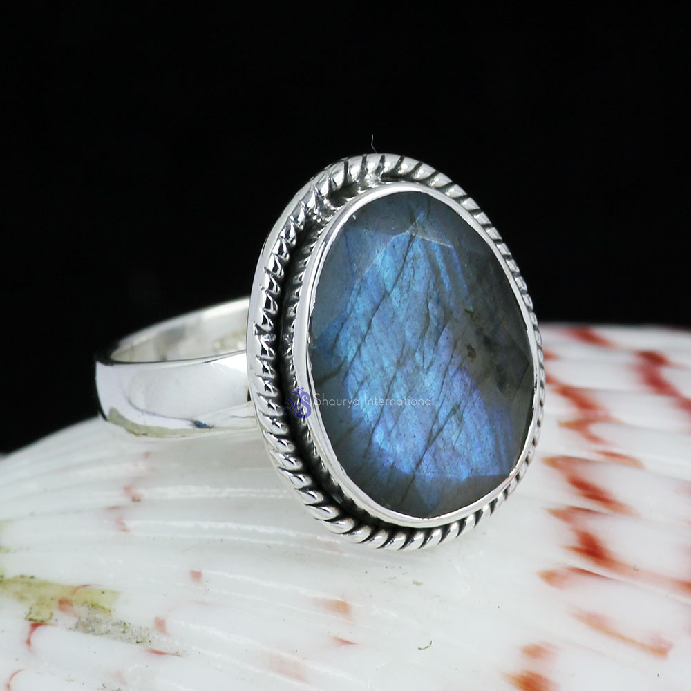 LABRADORITE O - BDR960- INDIAN FACTORY MADE LABRADORITE GEMSTONE RINGS WITH 925