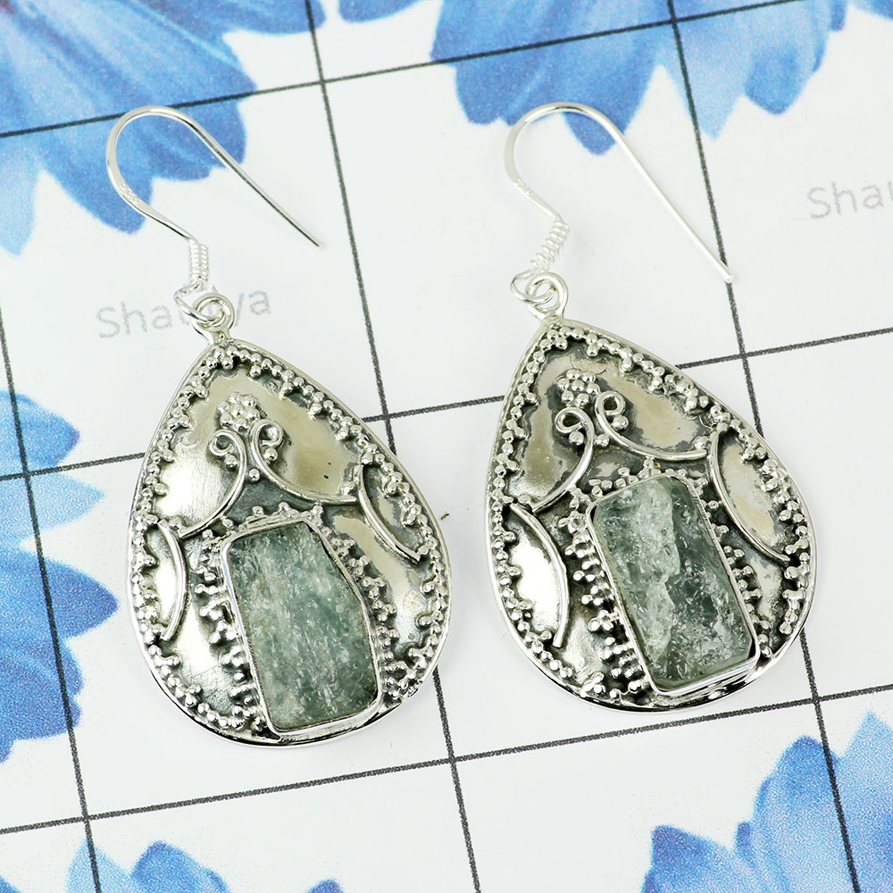 AQUAMARINE ROUGH B - XSE951- BEAUTIFUL DESIGNER NATURAL GEMSTONE EARRINGS MADE IN 925